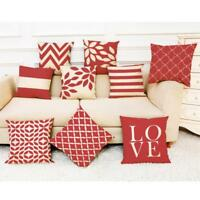 Home Sofa Decor Cushion Cover Red Geometric Throw Pillowcase Pillow Covers