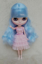 "12"" Takara Neo Blythe Dolls From Factory Nude Dolls Sky Blue Curly Hair 6057PL"