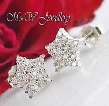925 Sterling Silver Rhodium Plated Stud Star with Clear Zirconia 8mm