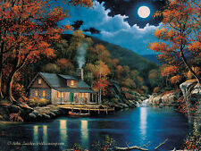 LED Lighted Moon Lake Cabin~Canvas Art Picture Decoration Lodge Light-up Print