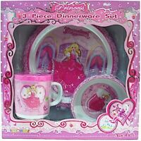 Princess Kids Pink 3 Pc Dinnerware Set Plate Cup & Bowl