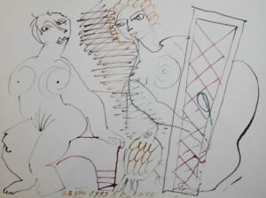 SURREALISM ABSTRACT NUDE LADIES  WATERCOLOR DRAWING SIGNED