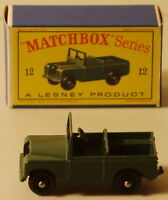 DTE LESNEY MATCHBOX REGULAR WHEELS 12-2 RARE KBPW MILITARY ARMY LAND ROVER JEEP