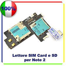 Lettore SCHEDA SIM + MICRO SD Card per SAMSUNG NOTE 2 N7100 FLAT FLEX Memory SD