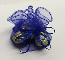 10 ROYAL BLUE VOILE ROUND FAVOUR WRAPS  WITH SPARKLY IRIDESCENT DOTS APPROX 29CM