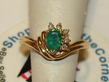 14K SOLID YELLOW GOLD PEAR CUT EMERALD DIAMOND RING 2.5 Gms SZE 6.5 SEE ALL PICS