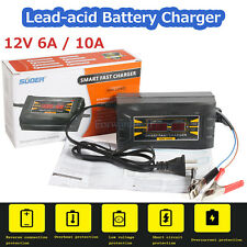 12V 6A/10A Auto Fast Lead-acid Battery Charger For Car Motorcycle LCD Display