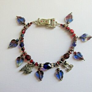 Glass Pewter Crystal Wine Themed Charm Bracelet Blue Purple Red