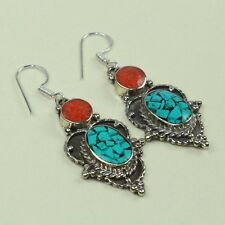 New Arrival Beautiful Turquoise & Red Coral Tibetan Earring NE-7174