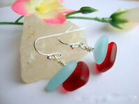 SEA GLASS Sky Blue Cranberry Red .925 STERLING SILVER Dangle Earrings USA MADE