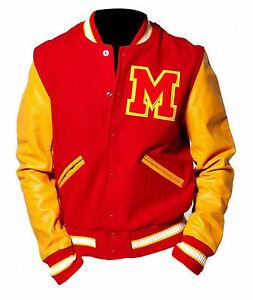 MJ Michael Jackson Thriller M Logo Letterman Varsity Jacket With Leather Sleeves