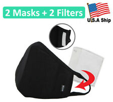 2 Pack of Protective 3D Cotton Face Mask with Filter Pocket and Carbon Filters