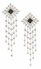 Palmiero Gold Diamond Black Melee Diamonds Snowflake Design Dangle Earrings