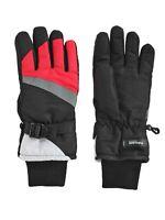 Aquarius Big Girls Thinsulate Reflective Ski Gloves - Black & Pink - M (7-10)