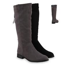 Gefütterte Damen Stiefel Flache Boots Winterstiefel 813302