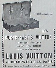 PUBLICITE LOUIS VUITTON LES PORTE HABITS VALISE BAGAGERIE DE 1923 FRENCH AD PUB
