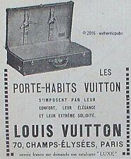 PUBLICITE LOUIS VUITTON LES PORTE HABITS VALISE BAGAGERIE DE 1923 FRENCH AD PUB
