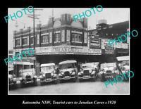 OLD POSTCARD SIZE PHOTO OF KATOOMBA NSW JENOLAN CAVES TOURIST CARS c1920