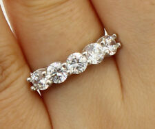 1.75 Ct 14K Real White Gold Five 5 Stones Round Wedding Anniversary Ring Band