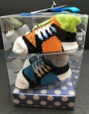 Cutie Pie Infant Socks Gift Set 0-12M 4 pairs Boy Sneakers Colors Blue Gray more