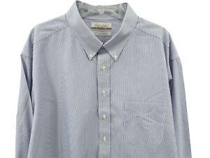 Gold Label Men's Dress Shirt Size 18.5 33 Big White Blue Striped Roundtree Yorke