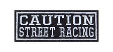 Caution Street Racing Biker Heavy Rocker Patch Aufnäher Bügelbild Kutte Motorrad