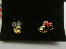 Vintage 1994 Avon Kids Mickey and Minnie Gold Tone Pierced Earrings