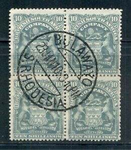 RHODESIA 71 SG89 Used 1898-1908 10sh Coat of Arms block of 4 Reinforced Cat$12