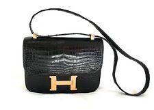 HERMES CONSTANCE VINTAGE CROCODILE BLACK BAG POLISHING RECEIPT