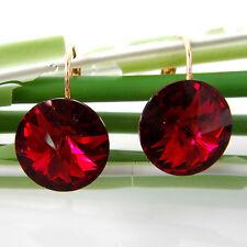 Navachi Red Ruby 18K Yellow GP Crystal Zircon Leverback Earrings BH2841