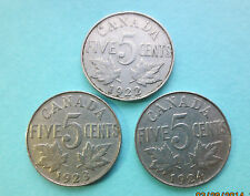 Lot of 3 Canadian 5 Cents ~ 1922,1923,1924 ~ Transition Year Collection