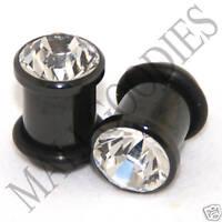 0319 Black Solid Clear Faceted Crystal Gem Retainer Ear Plugs 0 Gauge 0G 8mm