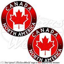 """CANADA canadese, Nord America, FOGLIA D'ACERO Adesivi Vinile 75mm 3 """"Adesivi X2"""