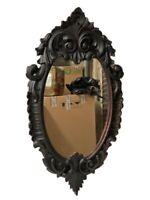 Antiguo espejo isabelino de madera de caoba ebonizada . Siglo XIX. 105x57