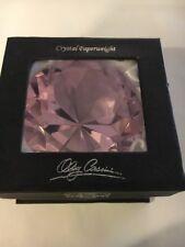 Oleg Cassini Pink Diamond Shaped Crystal Paperweight in Box