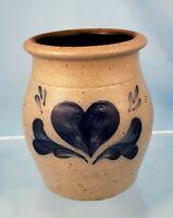 Vintage Rowe Pottery Heart Crock 5x4.5 Salt Glaze 1993 Stoneware Utensil Jar