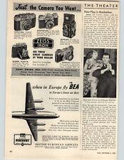 1955 Paper Ad Zeiss Ikon Cameras Contina Contaflex Ikoflex Ikonta Contax