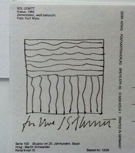 SOL LEWITT Original Ink Drawing on Postcard, Signed and Inscribed
