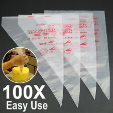 """UK 100Pcs 13.7"""" Plastic Disposable Icing Piping Cake Decorating Pastry Bags"""