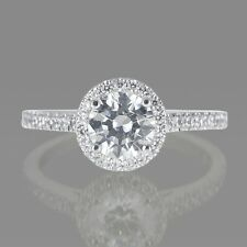 BLACK FRIDAY 0.95 CT ROUND DIAMOND ENGAGEMENT RING 18K WHITE GOLD F/SI1 ENHANCED