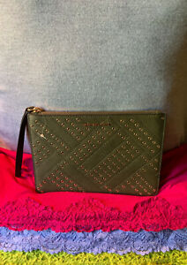 Michael Kors Travel Olive Green Leather Gold Perforated Credit Card Zip Wristlet