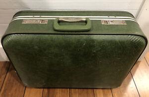 """Suitcase 21"""" Carry On Hardside Beautiful Green Vega Vintage Luggage Train Case"""