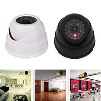 Dummy Fake Surveillance Security Dome Camera Flashing LED Light White   ze