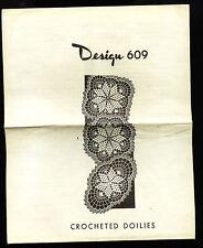 Vintage Mail Order Laura Wheeler Design #609 3 STAR Crocheted Doilies Scarce