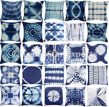 Indian Tie Dye Shibori Pillow Case 16X16 Indigo 2 Pcs Decorative Cushion Cover
