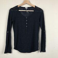 SPLENDID Black Blue Heathered SMALL Loose Knit HENLEY Roll-Tab Blouse Top F47