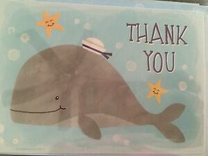 PUNCH STUDIO~ BABY WHALE~BLUE OCEAN~BLANK THANK YOU CARDS~GOLD FOIL~12~CUTE!