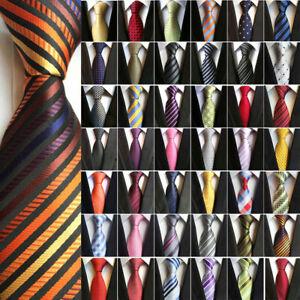 Mens Silk Jacquard Formal Business Pattern Striped Ties Slim 8cm Necktie Wedding