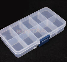 Plastic 10 Slots Adjustable Jewelry Storage Box Case Craft Organizer Beads IG