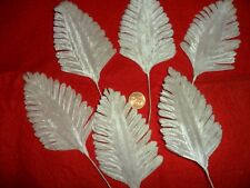 Vintage White Velvet Fern Leaves - 6